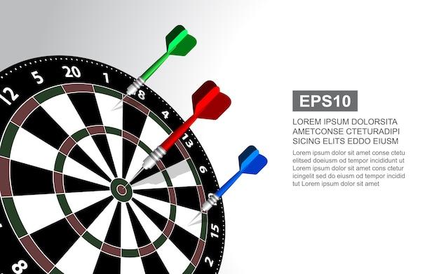 Ilustración de vector de dartboard aislado para juego de dardos.