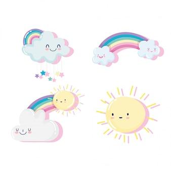 Ilustración de vector de decoración de dibujos animados lindo sol y nubes felices y arco iris