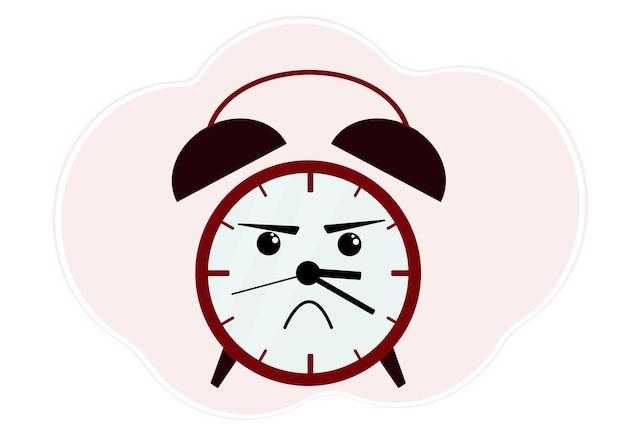 Ilustración de vector de despertador rojo con emoción enojada