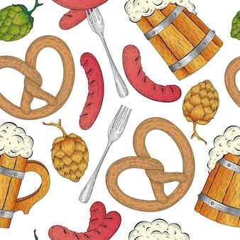 Ilustración de vector detallado con salchicha a la parrilla, jarra de cerveza de madera, pretzel, festival de la cerveza