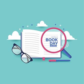 Ilustración de vector de día de libro mundial