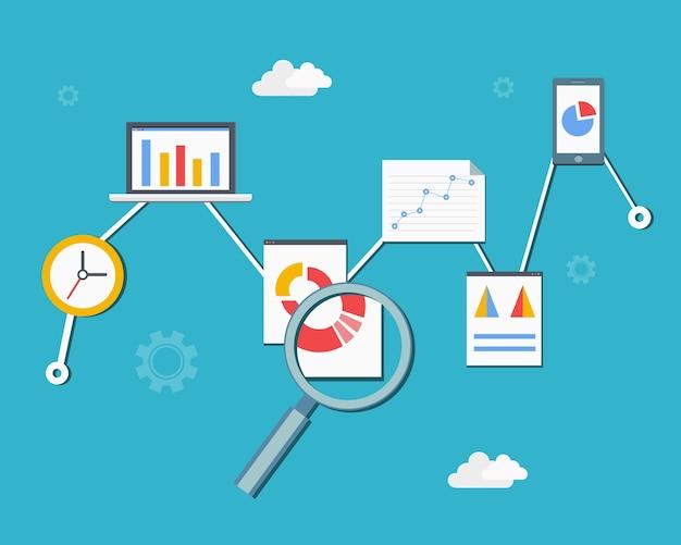 Ilustración de vector de diagrama de infografías de análisis y estadísticas web en estilo plano