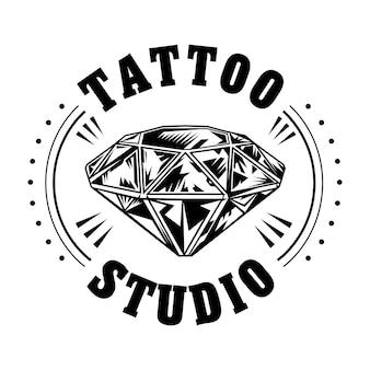 Ilustración de vector de diamante blanco y negro. logotipo de estudio de tatuajes vintage