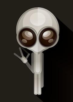 Ilustración de vector dibujado mano alienígena