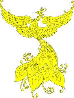 Ilustración de vector dibujado a mano de la bestia fabulosa eslava heráldica firebird