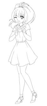 Ilustración de vector dibujado a mano. chica anime kawaii. ojos grandes. ilustración vectorial