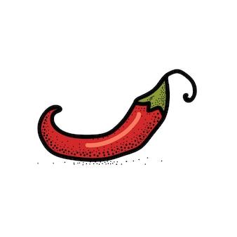 Ilustración de vector dibujado a mano chile pimienta