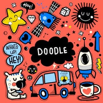 Ilustración de vector dibujado a mano del conjunto de doodle, dibujo de herramientas de línea de ilustrador, diseño plano