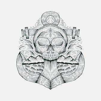 Ilustración de vector dibujado a mano cráneo ancla