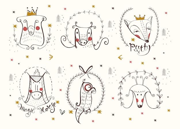 Ilustración de vector dibujado a mano doodle animal set se puede utilizar para la impresión de la moda de la impresión de la camiseta del bebé