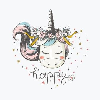 Ilustración de vector dibujado a mano de lindo unicornio romántico con diadema de flores