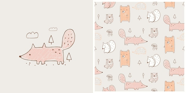 Ilustración de vector dibujado a mano de lindo zorro con patrones sin fisuras se puede utilizar para bebé