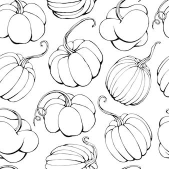 Ilustración de vector dibujado a mano de patrones sin fisuras con calabazas aisladas sobre fondo blanco
