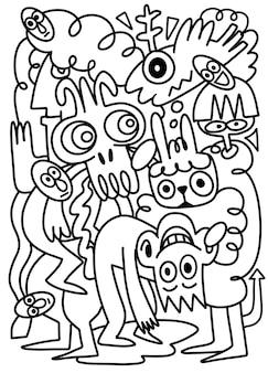 Ilustración de vector dibujado a mano de pueblos doodle, dibujo de herramientas de línea de ilustrador