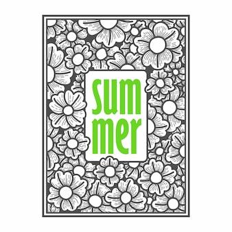 Ilustración de vector de dibujo a mano de verano floral