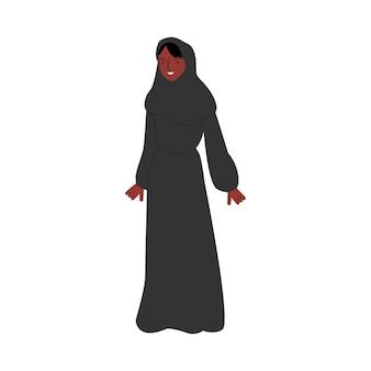 Ilustración de vector de dibujo de personaje de mujer musulmana afroamericana aislado