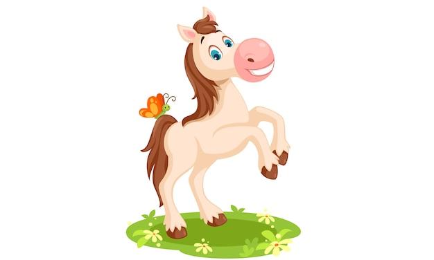 Ilustración de vector de dibujos animados de caballo blanco