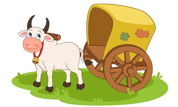 Ilustración de vector de dibujos animados de carro de bueyes