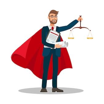 Ilustración de vector de dibujos animados de caso ganador de abogado