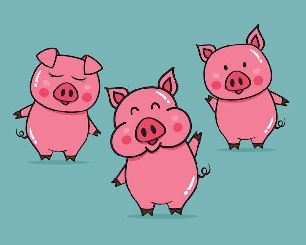 Ilustración de vector de dibujos animados de cerdos lindos