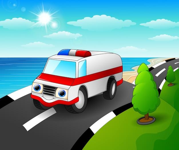 Ilustración de vector de dibujos animados de coche de ambulancia en la carretera costera