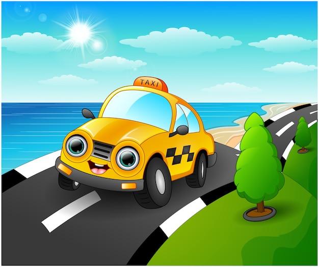 Ilustración de vector de dibujos animados de coche taxi en la carretera costera