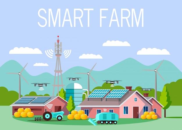 Ilustración de vector de dibujos animados de granja de alta tecnología inteligente