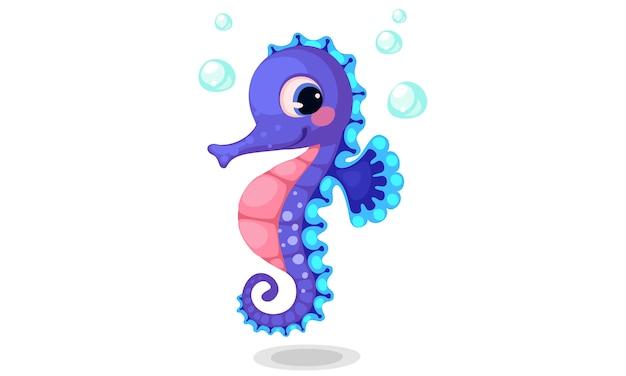 Ilustración de vector de dibujos animados hermoso caballito de mar