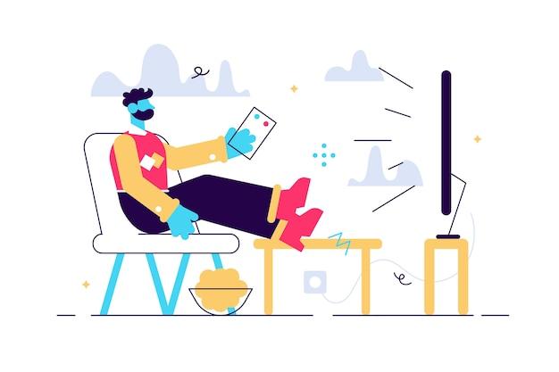 Ilustración de vector de dibujos animados de hombre sentado en el sofá y viendo la televisión. personajes divertidos. procrastinación, concepto de fin de semana.