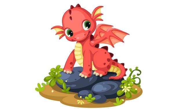 Ilustración de vector de dibujos animados lindo bebé dragón rojo