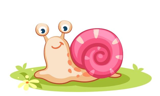 Ilustración de vector de dibujos animados lindo caracol