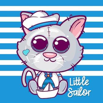 Ilustración de vector de dibujos animados lindo gatito marinero