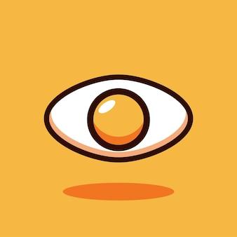 Ilustración de vector de dibujos animados de logo de ojo de huevo