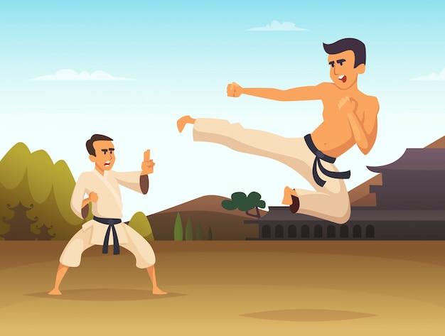 Ilustración de vector de dibujos animados de luchadores de karate, deporte arte marcial