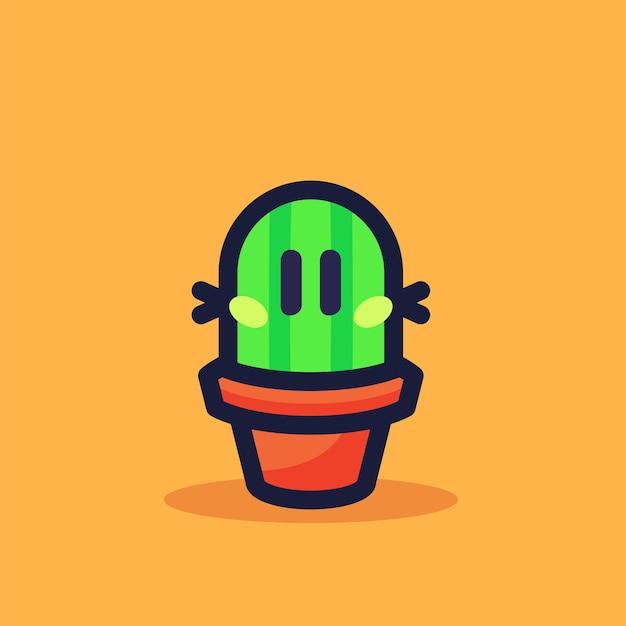 Ilustración de vector de dibujos animados de mini cactus