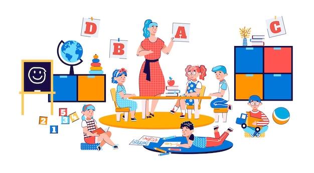 Ilustración de vector de dibujos animados de niños jugando juegos educativos en el jardín de infantes