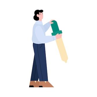 Ilustración de vector de dibujos animados de personaje masculino diseñador de ui y ux aislado