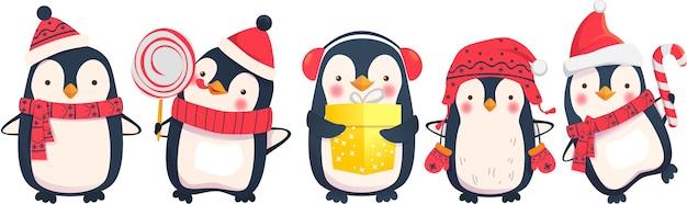 Ilustración de vector de dibujos animados de pingüinos. personajes de pingüino navideño