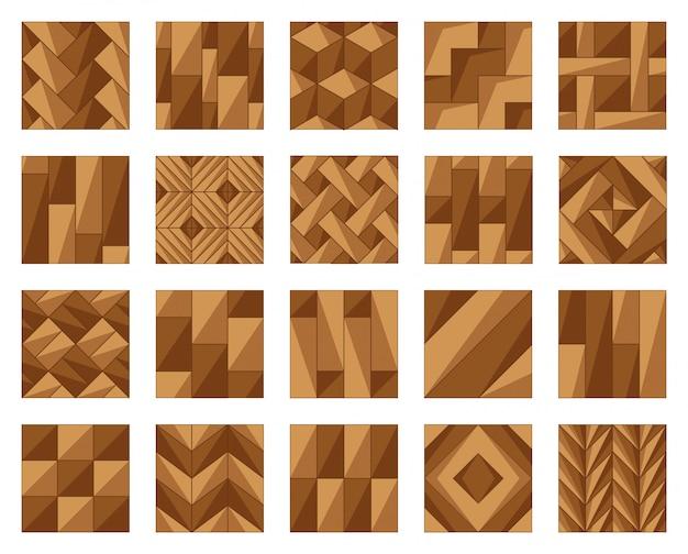 Ilustración de vector de dibujos animados de piso de parquet. icono de conjunto de piso de madera. parquet de icono de ilustración de vector de madera dura para habitación.