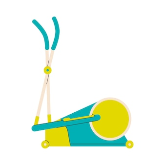 Ilustración de vector de dibujos animados plana cyclette o ciclo entrenador máquina aislada
