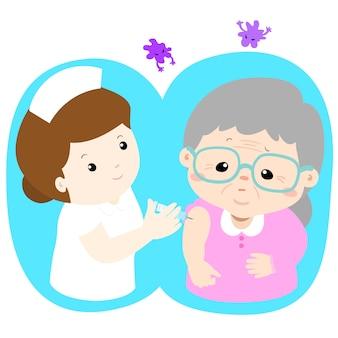 Ilustración de vector de dibujos animados senior de vacunación