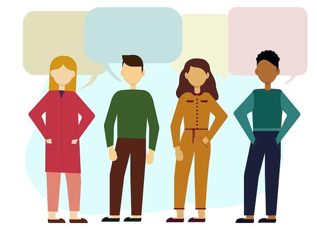 Ilustración de vector de diferentes hombres y mujeres europeos y afroamericanos. comunicación y globo de aire para texto.