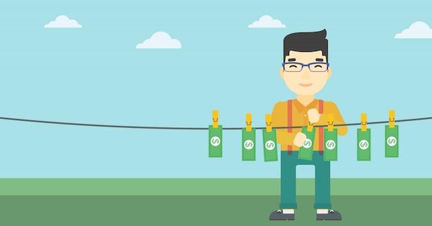 Ilustración de vector de dinero loundering hombre.