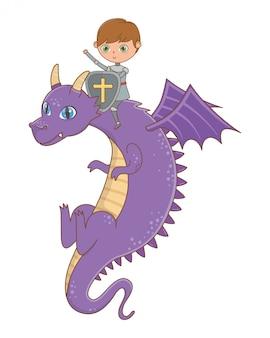 Ilustración de vector de diseño de caballero y dragón de cuento de hadas
