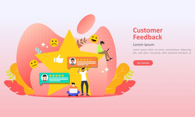 Ilustración de vector de diseño de concepto de revisión de comentarios
