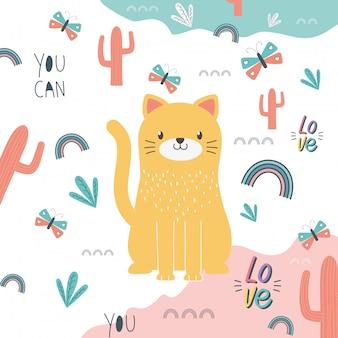 Ilustración de vector de diseño de dibujos animados de gato