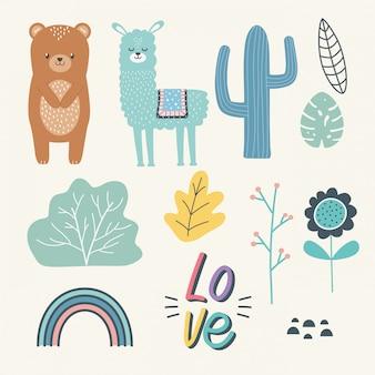Ilustración de vector de diseño de dibujos animados oso y llama