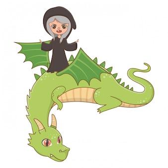 Ilustración de vector de diseño de dragón y bruja de cuento de hadas