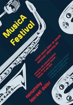 Ilustración del vector del diseño elegante del cartel del festival de música