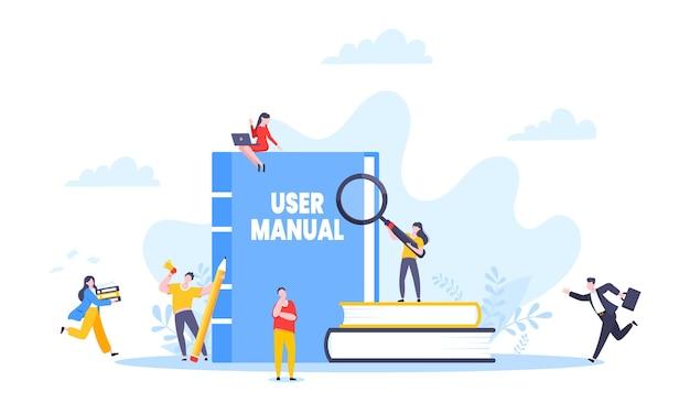 Ilustración de vector de diseño de estilo plano de libro de guía manual de usuario